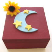Burgundy wood jewelry box with blue moon and stars