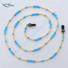 Pearl and turquoise eyeglass chain
