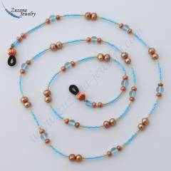 Bronze pearl and sky blue eyeglass chain