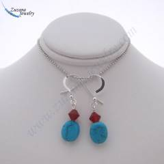 Turquoise and siam crystal earrings