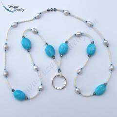Pearl and pressed chalk turquoise eyeglass necklace