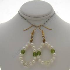 Pearl and green glass earrings