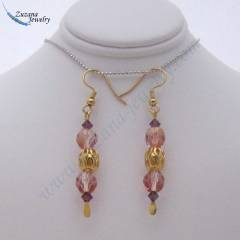 Rose and gold glass earrings