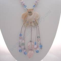 Pink and blue shell and glass necklace