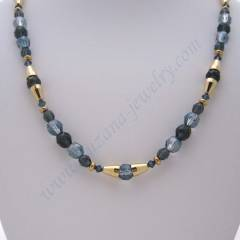 Deep blue and gold glass necklace