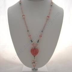 Pink heart pink necklace