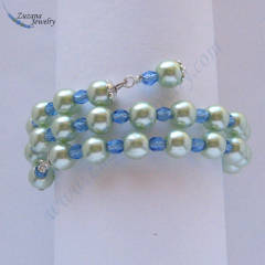 Glass pearl memory wire bracelet