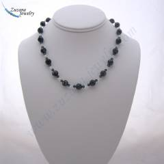 Snow obsidian gemstone necklace