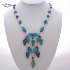 Turquoise leaf and siam crystal jewelry necklace