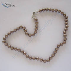 Bronze glass pearl choker necklace