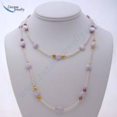 Long casual pearl and shell necklace