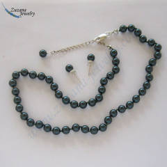 Dark green Swarovski crystal pearl necklace
