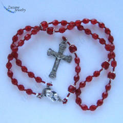 Ruby red stringed glass rosary