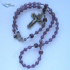 Amethyst glass stringed rosary