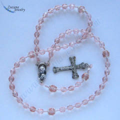 Light rose glass stringed rosary