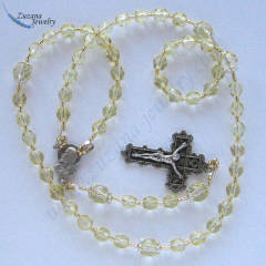 Yellow gold glass rosary