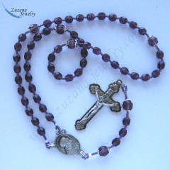 Amethyst glass rosary