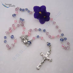 Tanzanite and rose Swarovski crystal rosary