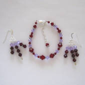 Siam garnet and violet Swarovski crystal jewelry set