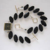 Blue goldstone handmade jewelry set