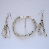 Sterling silver seed bead jewelry set