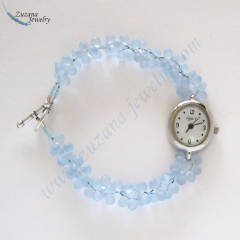 Light sapphire glass beaded watch